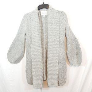 Hinge shawl collar balloon sleeve cardigan sweater